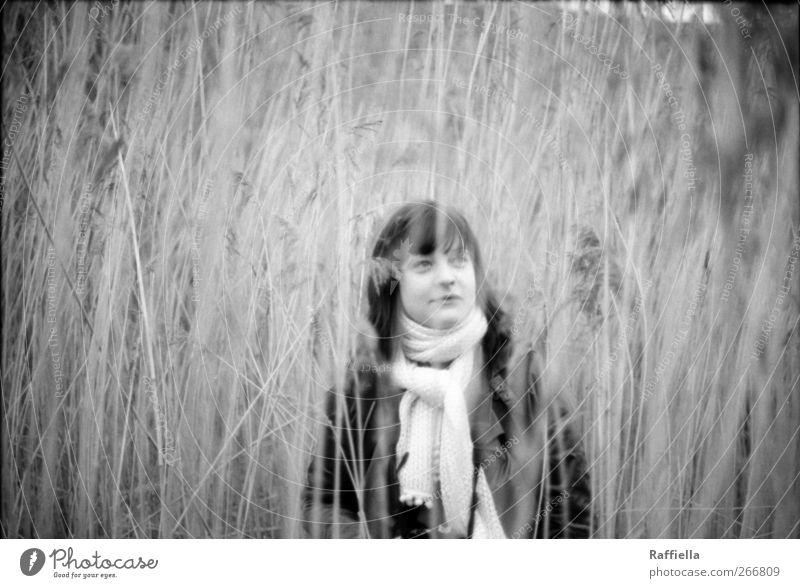 deep feminin Junge Frau Jugendliche Gesicht 1 Mensch 18-30 Jahre Erwachsene Umwelt Natur Landschaft Pflanze Gras Sträucher Jacke Schal brünett langhaarig Pony