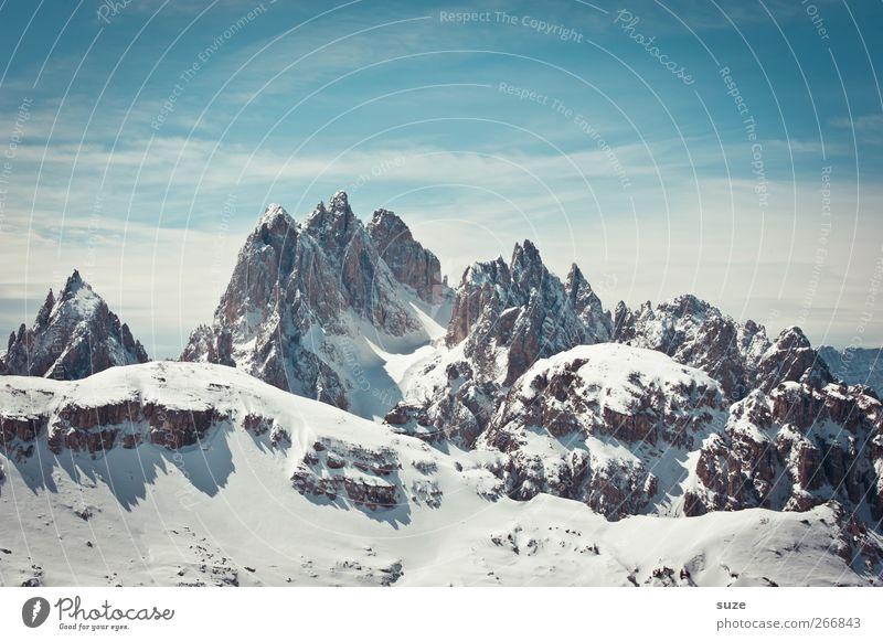 Cadini Gruppe Himmel Natur blau Ferien & Urlaub & Reisen Wolken Umwelt Landschaft Schnee Berge u. Gebirge Frühling Felsen Klima außergewöhnlich groß Urelemente