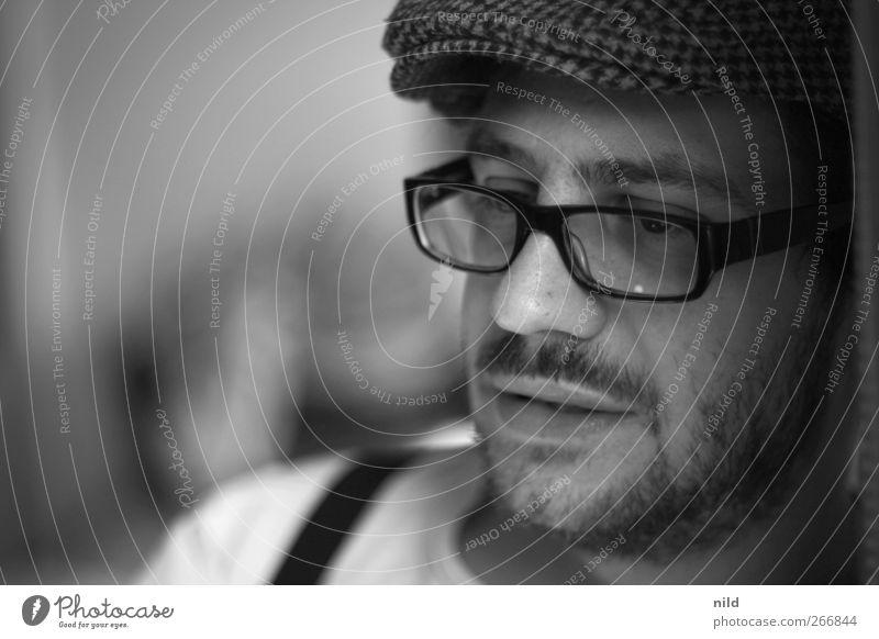 Portrait Mensch maskulin Junger Mann Jugendliche Kopf Gesicht 1 18-30 Jahre Erwachsene Brille Mütze schwarzhaarig Bart Oberlippenbart Stimmung Coolness