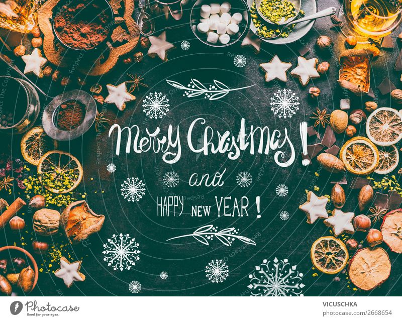 Merry Christmas Weihnachtskarte mit Süßes Lebensmittel Süßwaren Schokolade Ernährung Festessen Geschirr kaufen Stil Design Winter Häusliches Leben