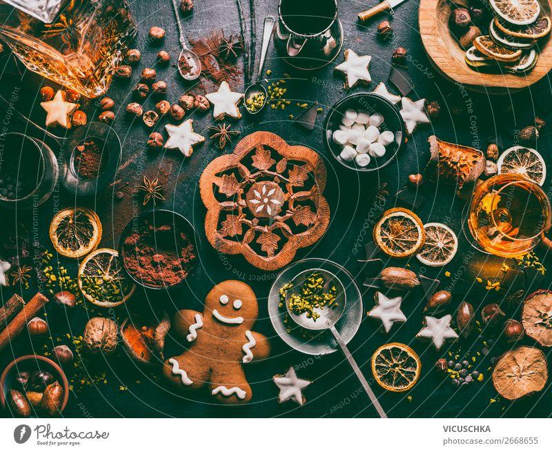 Süßes und Schokolade zum Weihnachten Lebensmittel Süßwaren Kräuter & Gewürze Ernährung Festessen Getränk Kakao Geschirr kaufen Stil Design Winter Tisch