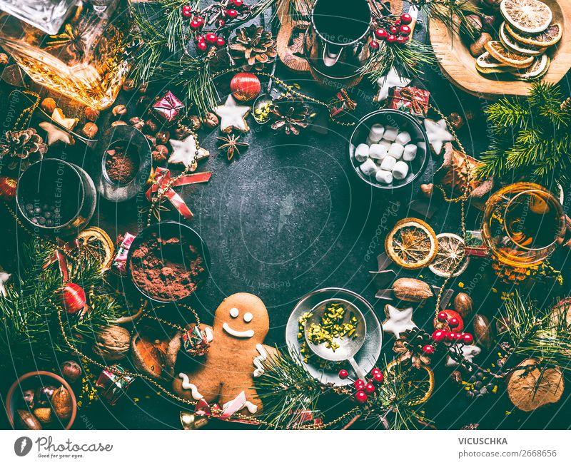 Weihnachten Hintergrund Rahmen mit Plätzchen und Lebkuchen Lebensmittel Dessert Süßwaren Schokolade Kräuter & Gewürze Ernährung Festessen Kakao Spirituosen