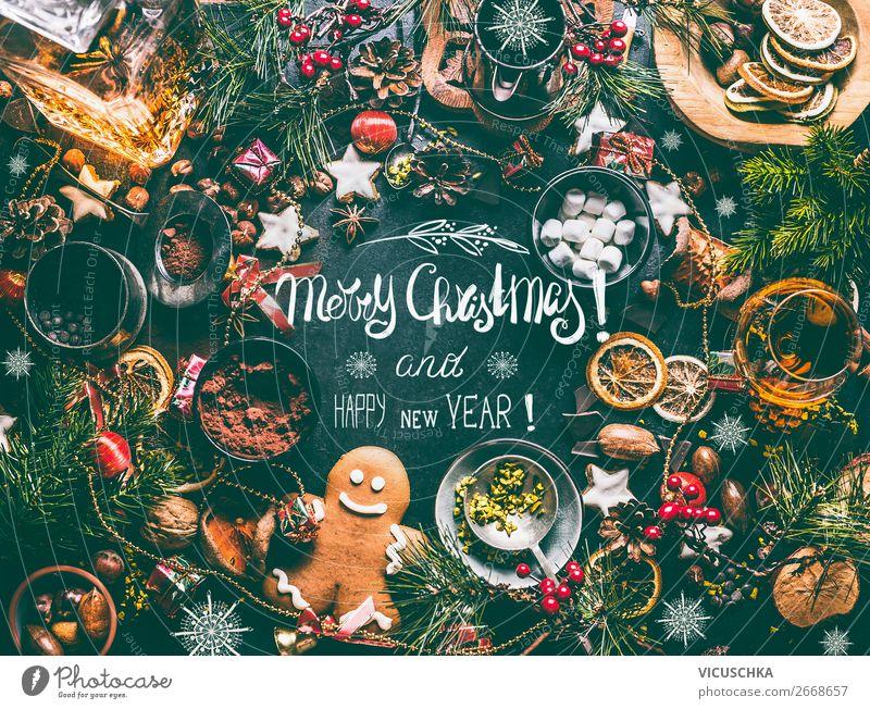 Weihnachtskarte mit Weihnachtsgebäck für Weihnachten Kakao kaufen Stil Design Winter Entertainment Party Veranstaltung Restaurant Feste & Feiern