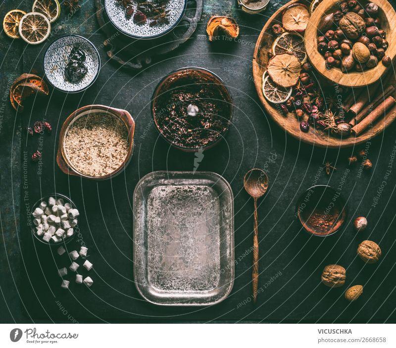 Zutaten für vegan Trüffel Pralinen Lebensmittel Frucht Süßwaren Schokolade Kräuter & Gewürze Ernährung Bioprodukte Vegetarische Ernährung Diät Geschirr Stil