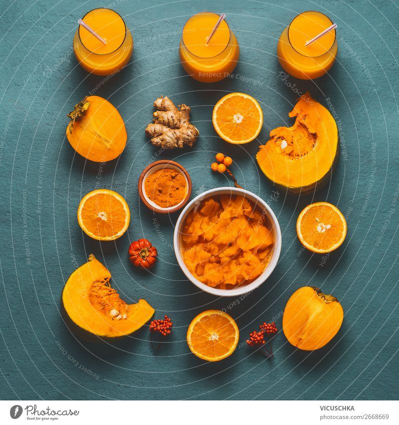 Gesunder Kürbis Smoothie mit orange Zutaten Lebensmittel Gemüse Frucht Kräuter & Gewürze Ernährung Bioprodukte Vegetarische Ernährung Diät Getränk Saft Geschirr