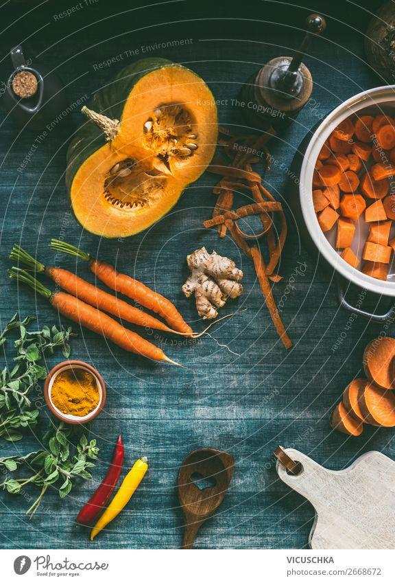 Gemüse für Kürbissuppe Lebensmittel Suppe Eintopf Ernährung Bioprodukte Vegetarische Ernährung Diät Geschirr Topf Stil Design Gesunde Ernährung Winter