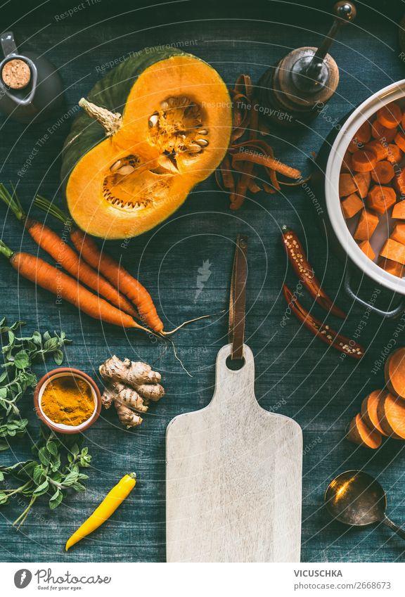 Herbst saisonal vegetarische Kochzutaten Gesunde Ernährung Foodfotografie Lebensmittel Essen Hintergrundbild Stil orange Design Tisch kaufen kochen & garen