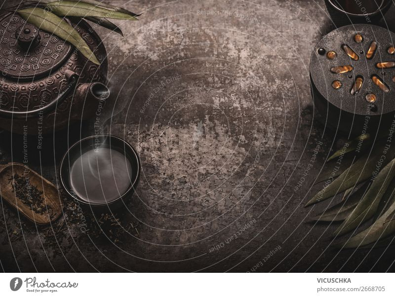 Asiatischer Tee Hintergrund mit Teekanne Lebensmittel Asiatische Küche Getränk Heißgetränk Geschirr kaufen Stil Design Gesunde Ernährung trendy retro