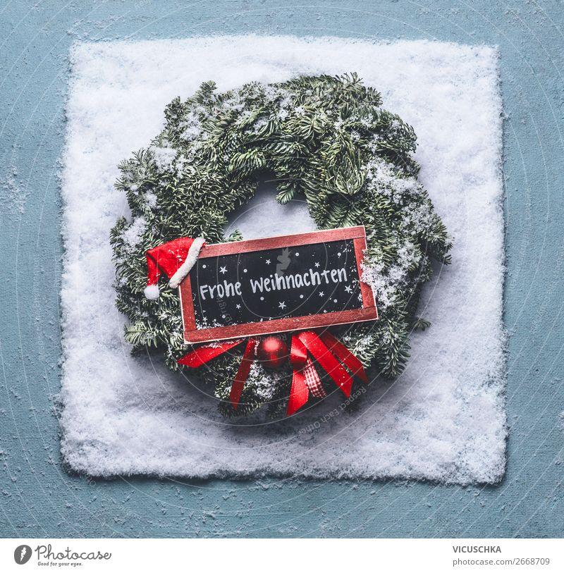 Weihnachtskranz mit Frohe Weihnachten Schild in Schnee Stil Design Winter Dekoration & Verzierung Feste & Feiern Weihnachten & Advent Zeichen trendy Stimmung