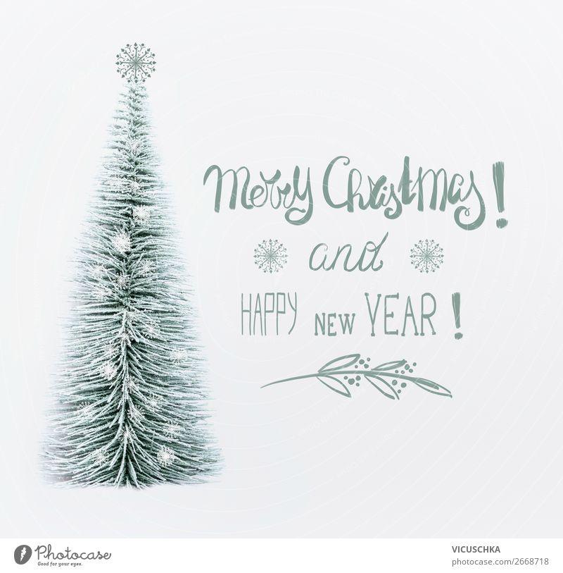 Weihnachtskarte mit Weihnachtsbaum und Text Stil Design Winter Schnee Dekoration & Verzierung Feste & Feiern Weihnachten & Advent Zeichen Tradition Postkarte