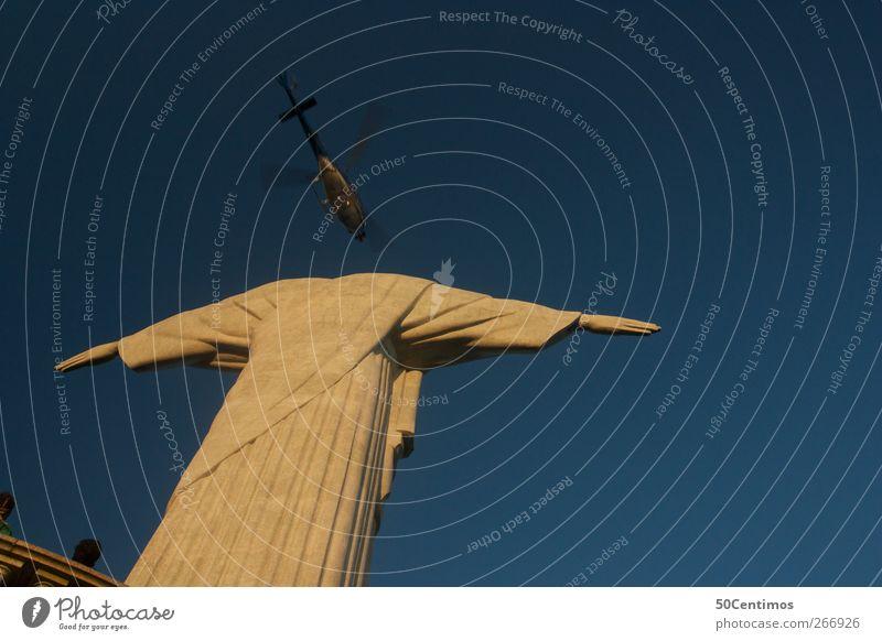 Christ the Redeemer Statue in Rio de Janeiro with Helicopter blau Ferien & Urlaub & Reisen Sommer Ferne gelb Freiheit frei Design Ausflug Tourismus Sommerurlaub Hubschrauber