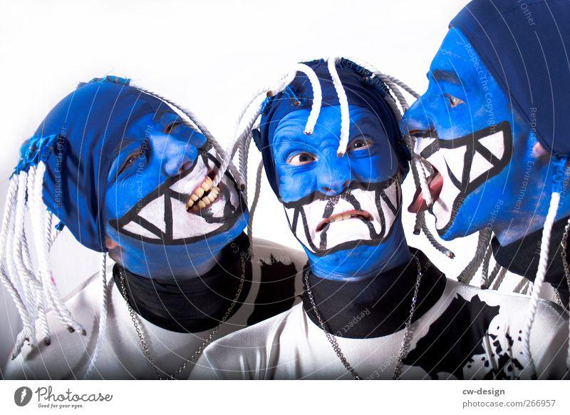 Die Zwangsjacken : Symphonie II Mensch Mann Jugendliche blau weiß Freude Erwachsene Kopf Party Stil Freundschaft Freizeit & Hobby maskulin verrückt 18-30 Jahre