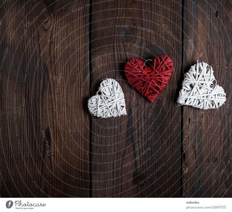 drei kleine Weidenherzen Design Dekoration & Verzierung Feste & Feiern Valentinstag Silvester u. Neujahr Hochzeit Holz Herz alt Liebe retro braun rot weiß