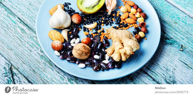 Konzept der gesunden Ernährung Lebensmittel Gesundheit Frucht Antioxidans Samen Superfood Vitamin Linsen organisch Diät Vegetarier Gemüse Bestandteil Protein