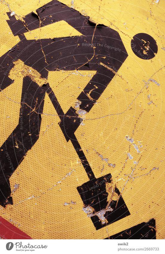 Nach der Schlacht Mann Erwachsene 1 Mensch Hinweisschild Warnschild Verkehrszeichen Arbeit & Erwerbstätigkeit gelb rot schwarz geduldig Rechtschaffenheit