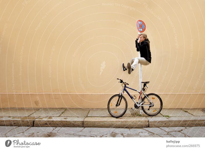 falschparker Mensch Mann Erwachsene gelb Straße braun Schuhe Schilder & Markierungen maskulin Verkehr Hinweisschild Lifestyle Zeichen Hose Jacke hängen