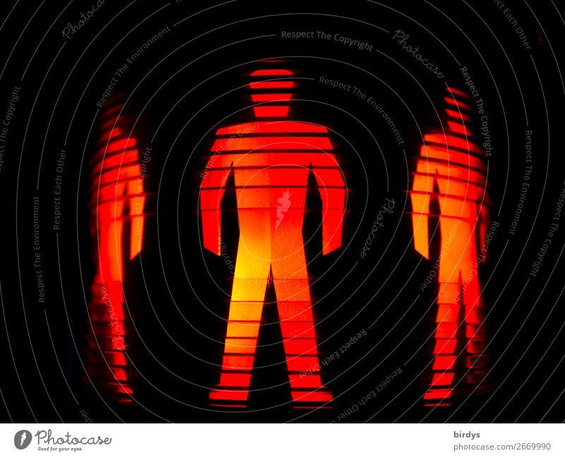 homogene Männerwelt Mensch Farbe rot schwarz gelb maskulin stehen authentisch gefährlich warten bedrohlich Zeichen Sicherheit Macht Zusammenhalt stark