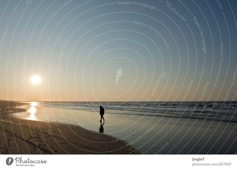 unendlichkeit Natur blau Meer Strand ruhig Ferne Erholung Landschaft Freiheit braun Wellen gehen gold Insel Ausflug Warmherzigkeit