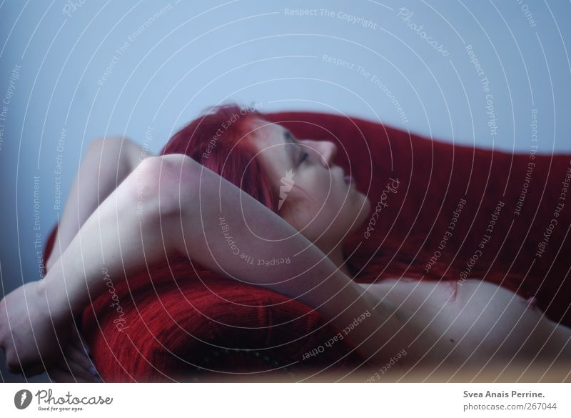 weinrot. feminin Junge Frau Jugendliche Körper Haut Haare & Frisuren Brust Arme Hand 1 Mensch 18-30 Jahre Erwachsene Sofa Sessel rothaarig langhaarig festhalten