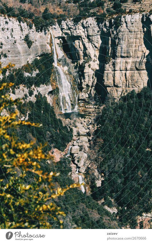 Ein Detail einer Klippe mit Wasserfall schön Windstille Ferien & Urlaub & Reisen Abenteuer Berge u. Gebirge wandern Umwelt Natur Landschaft Pflanze Herbst Baum
