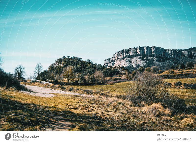 Ein herbstliches Feld mit einigen Bäumen und einem steilen Hügel im Hintergrund schön Windstille Ferien & Urlaub & Reisen Abenteuer Berge u. Gebirge wandern