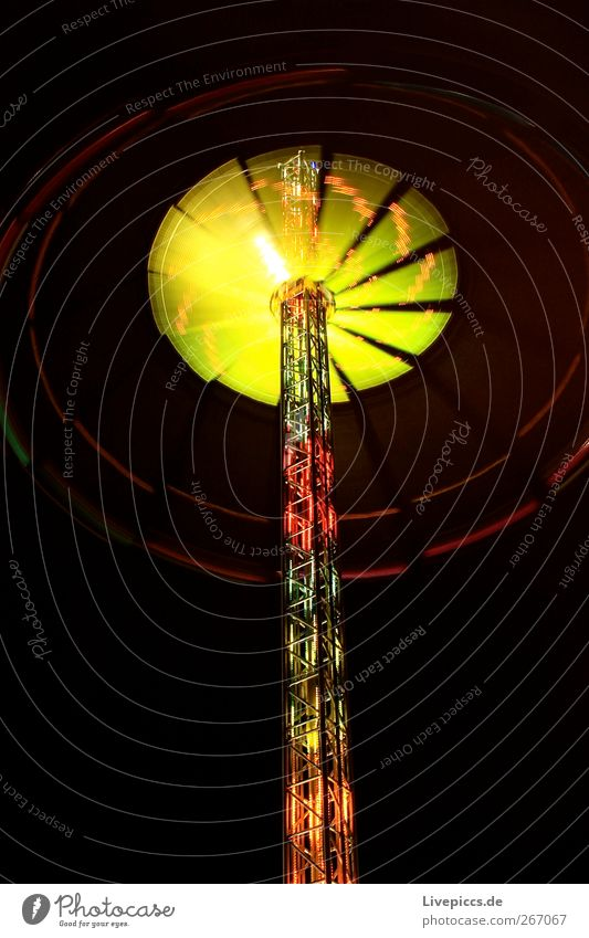 Rummelrad rot gelb Stahl Jahrmarkt Maschine Nachtleben