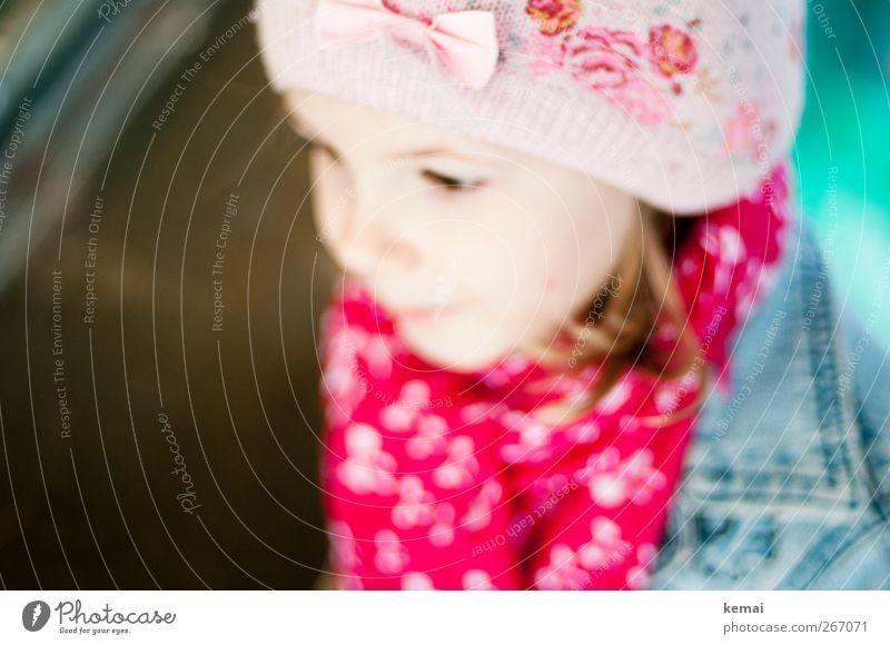 Schleifle Mensch Kind feminin Leben Kopf klein Mode Kindheit rosa niedlich Mütze Schleife Schal Accessoire 3-8 Jahre Halstuch