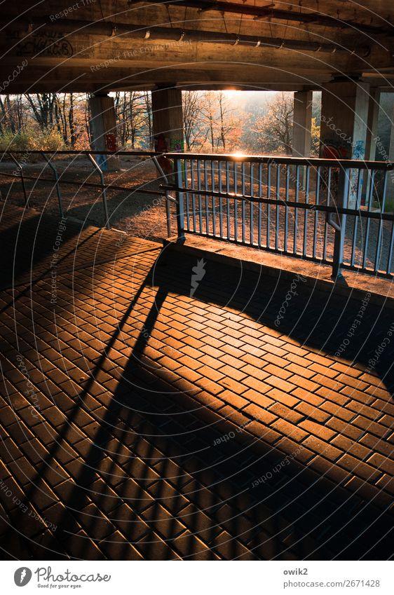 Unter der Autobahn Bauwerk Brücke Geländer Brückenpfeiler Beton Metall leuchten fest unten Stadt Farbfoto Außenaufnahme Muster Strukturen & Formen Menschenleer