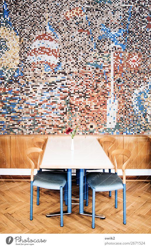 Mensa Innenarchitektur Dekoration & Verzierung Möbel Stuhl Tisch Raum Speisesaal Kunst Kunstwerk Mauer Wand Mosaik Wandmalereien Holzverkleidung Metall