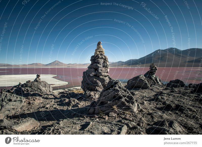 Little Sisters Himmel blau Ferien & Urlaub & Reisen rot Einsamkeit Landschaft Freiheit Stein See Felsen wandern Tourismus Abenteuer Wolkenloser Himmel Südamerika Bolivien