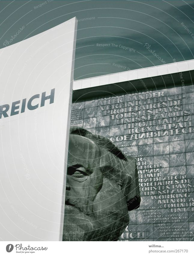 dialektik Architektur Gebäude Kopf Schriftzeichen Zukunft Vergangenheit Wahrzeichen Denkmal Sehenswürdigkeit Typographie Karriere Reichtum Skulptur reich Text Politik & Staat