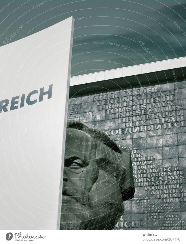 Karl Marx und der Reichtum der Welt reich Kapitalwirtschaft Karriere Arbeitslosigkeit Kopf Skulptur Monument Sehenswürdigkeit Wahrzeichen Denkmal Schriftzeichen