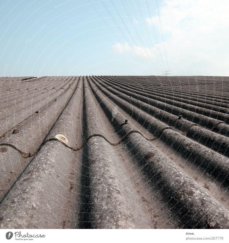 Murmelbahn Himmel Horizont Zufriedenheit dreckig elegant Energiewirtschaft ästhetisch Elektrizität Dach Schönes Wetter Schutz Unendlichkeit Ewigkeit Konzentration Kontrolle Symmetrie