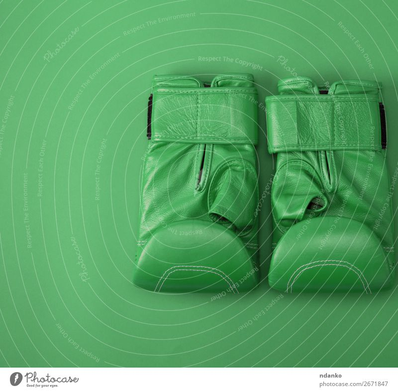grüne Sportleder Boxhandschuhe Lifestyle Fitness Bekleidung Leder Handschuhe neu oben Schutz Farbe Konkurrenz Kreativität Hintergrund Kasten Boxer Boxsport