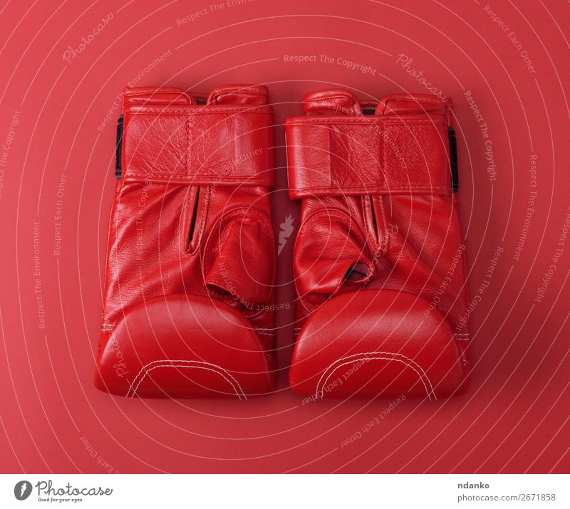 neue rote Sportleder Boxhandschuhe aus Leder Lifestyle Fitness Bekleidung Handschuhe oben Schutz Farbe Idee Konkurrenz Hintergrund Kasten Boxer Boxsport