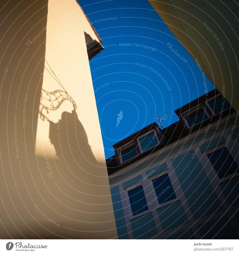 freiburger Aushänger im Quadrat Stil Gastronomie Freiburg im Breisgau Stadtzentrum Altstadt Stadthaus Fassade Brandmauer Zeichen Schilder & Markierungen hängen