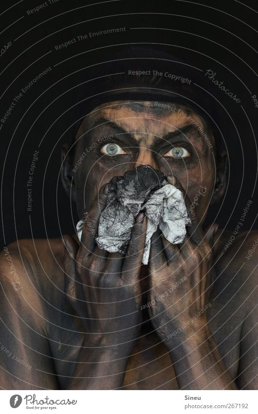 the dark side of life Mensch Hand schwarz Gesicht Auge dunkel Kopf dreckig Reinigen Sauberkeit Wut Ekel Ärger Tuch hässlich Schrecken