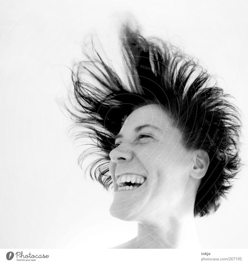Baby, Baby, es gibt Reis! Mensch Frau Freude Gesicht Erwachsene feminin Leben Spielen Gefühle Bewegung Haare & Frisuren lachen springen lustig Stimmung