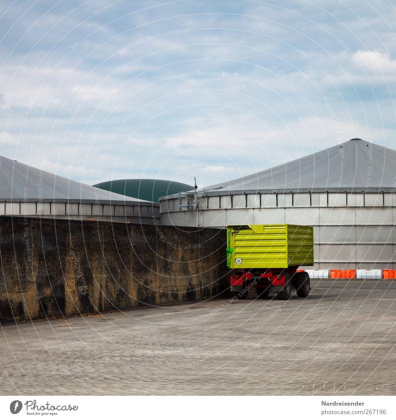 Biogas Wolken Umwelt Linie Energiewirtschaft Zukunft planen Technik & Technologie Zeichen Bauwerk Landwirtschaft Lastwagen ökologisch Umweltschutz Klimawandel