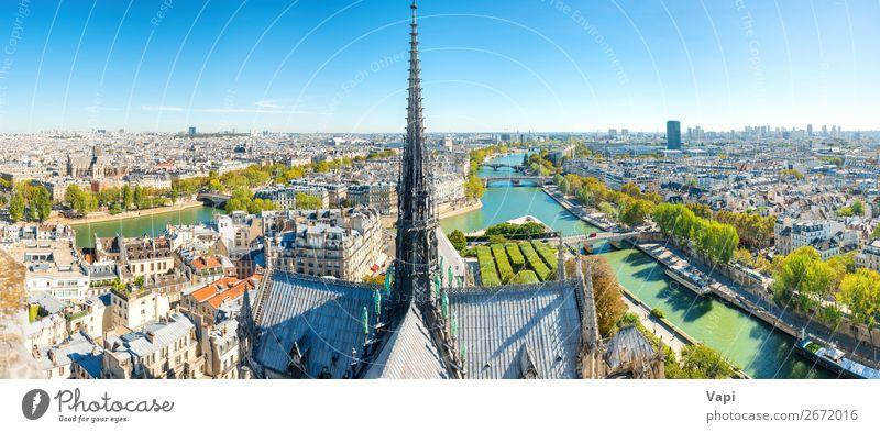 Panoramablick von der Notre Dame de Paris de Paris de Paris schön Ferien & Urlaub & Reisen Tourismus Ausflug Abenteuer Ferne Freiheit Sightseeing Städtereise