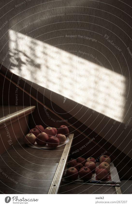 Apple Inc. Lebensmittel Frucht Apfel Ernährung Bioprodukte Vegetarische Ernährung Häusliches Leben Treppe Treppenhaus Kellertreppe leuchten liegen warten