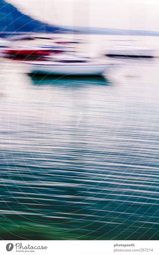 Impressionismus in Garda blau Wasser grün Einsamkeit ruhig Ferne Landschaft See träumen Linie Stimmung Wellen ästhetisch Streifen Idylle Wasseroberfläche