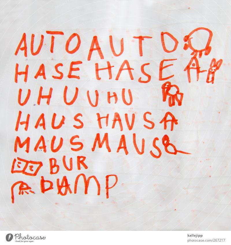 mein haus, mein auto ... Kindererziehung Bildung Kindergarten Schule lernen Zeichen Schriftzeichen schreiben PKW Hase & Kaninchen Uhu Haus Maus Papier