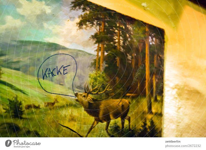 """Der Hirsch sagt """"Kacke"""". Hirsche Tier Wildtier Wald Waldrand Landschaft röhrender hirsch Brunft schreien Bild Kitsch Gemälde malerisch gemalt Wand"""