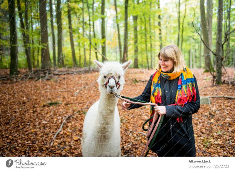 junge Frau führt weißes Alpaka im Wald spazieren Farbfoto Außenaufnahme Tag Unschärfe Zentralperspektive Porträt Tierporträt Blick nach vorn Blick in die Kamera