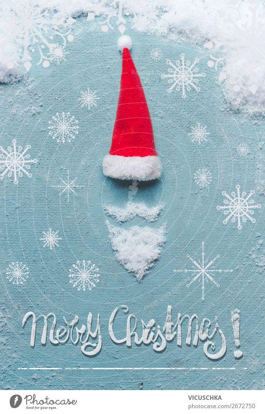 Weihnachtsmann mit Bart und Schnee Stil Design Freude Winter Feste & Feiern Weihnachten & Advent Dekoration & Verzierung Symbole & Metaphern Hipster Sale Text