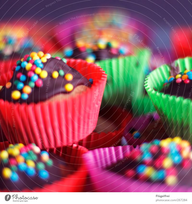 Vegane Kirsch-Bananen-Muffins Ernährung genießen Geburtstag Törtchen Streusel Kindergeburtstag Unschärfe Schokolade schön Dessert Kuchen Backwaren