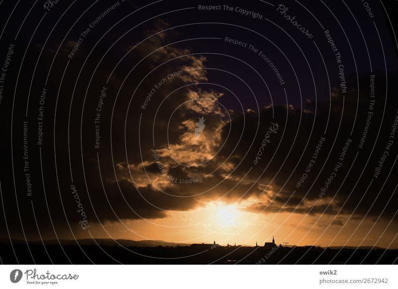Untergang Himmel Natur Stadt Sonne Wolken Umwelt Gebäude Deutschland Horizont leuchten Kirche glänzend Idylle Schönes Wetter groß Turm