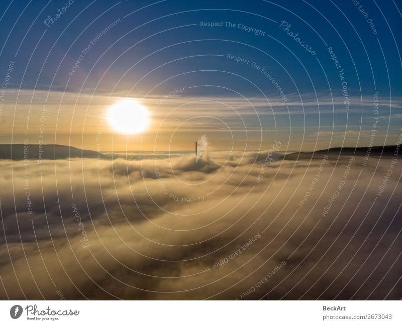Jena Thuringia above the fog with a view towards Winzerla Ferien & Urlaub & Reisen Sommer Natur Himmel nur Himmel Wolken Sonne Sonnenaufgang Sonnenuntergang