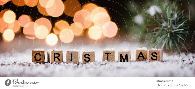 Christmas - Holzbuchstaben und weihnachtlicher Hintergrund Winter Weihnachten & Advent Dekoration & Verzierung Kerze Kitsch Krimskrams Zeichen Schriftzeichen